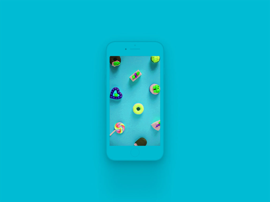 iPhone 8 Clay Mockup Cyan
